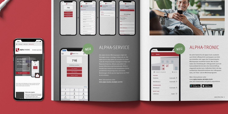 Mockup alpha innotec Landing Page und Broschüre Innen